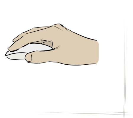 Main avec un souris d'ordinateur