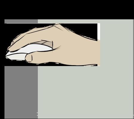 Main avec une sourie sans fil