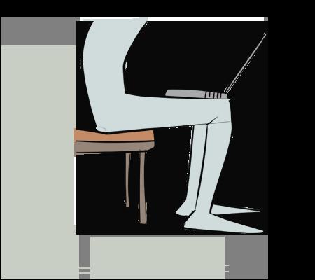 Ordinateur sur les genoux
