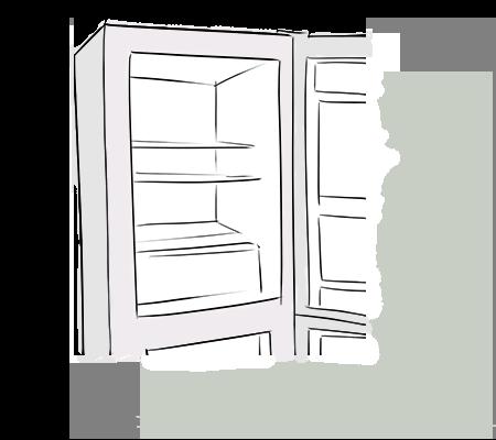 Un réfrigérateur ouvert